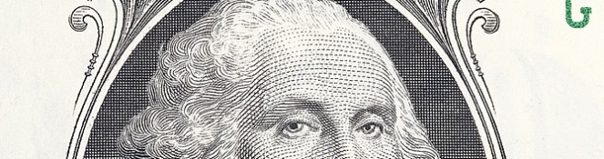 portrait of george washington on american one dollar note